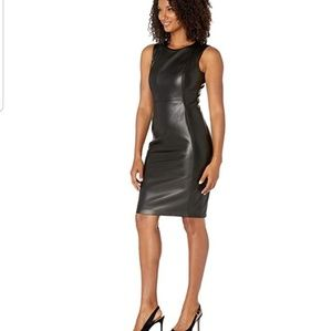 Pu sheath vegan leather dress